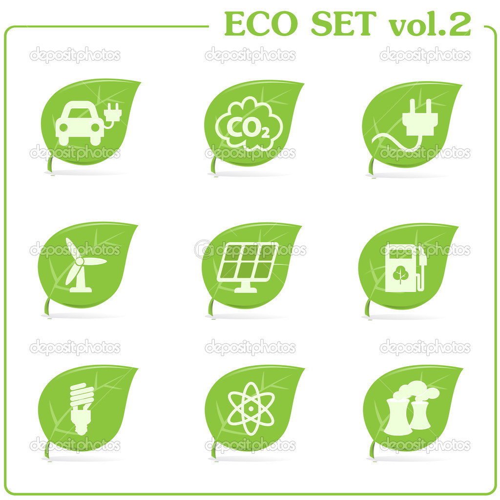 Vector green ecology icon set. Vol. 2  Stock Vector #10857712