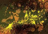 Vintage floral background with grunge — Stok Vektör