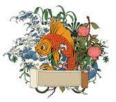 Ilustração japonesa com peixes koi — Vetorial Stock
