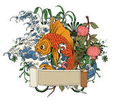 Japanese illustration with koi fish — Stock Vector
