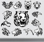 Set di sagome di animali tribali — Vettoriale Stock
