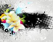 グランジ カラフルな花の背景 — ストックベクタ