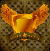 Grunge gold emblem — Stock Vector
