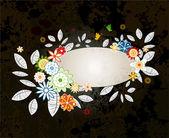 Grunge floral frame — Cтоковый вектор