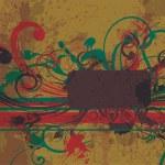 Grunge floral frame — Stock Vector