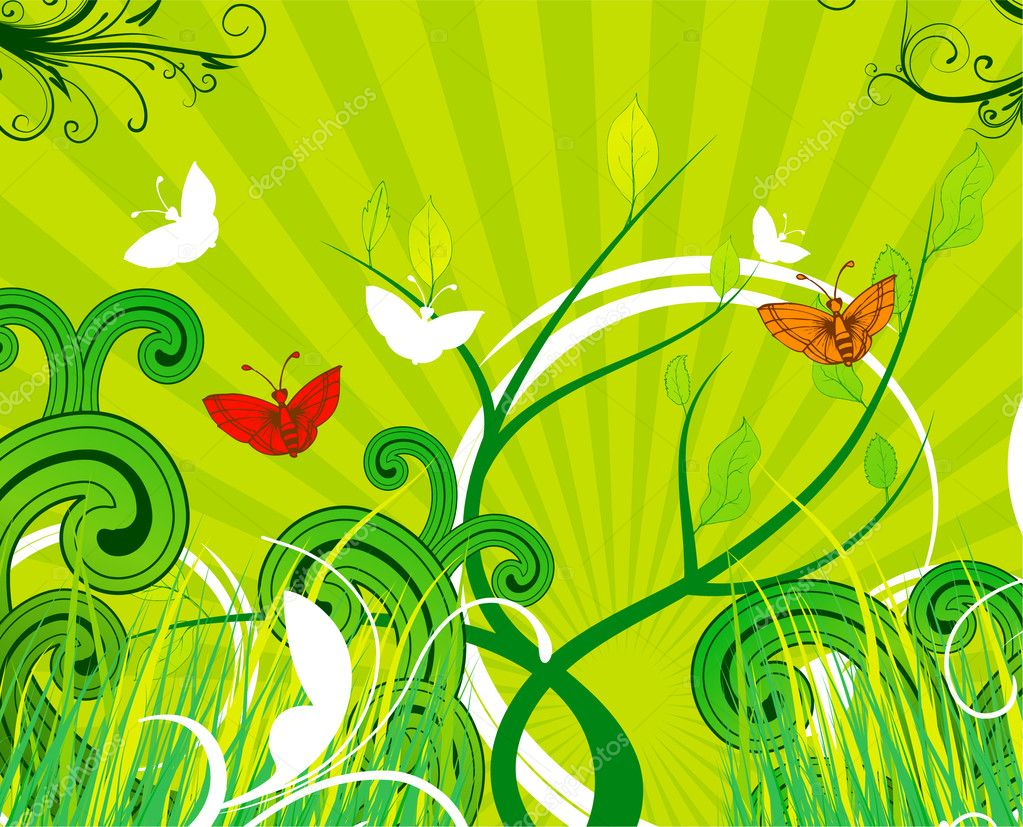 Vector abstract spring background with butterflies  Stock Vector #11007377