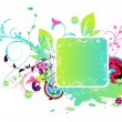 Stock Vector: Colorful abstract floral frame