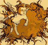 Marco floral grunge con ángel — Vector de stock
