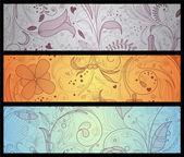 Conjunto floral banners — Vector de stock