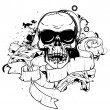 Skull with scrolls - Stock Vector