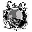 Skull with grunge - Stock Vector