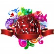 Discoball with colorful floral — Stock Vector #11157395