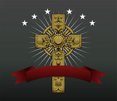 Gothic cross with ribbon — Vector de stock