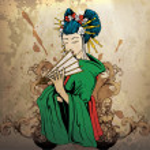 Geisha on grunge background — Stock Vector