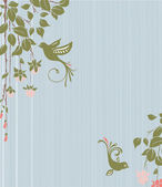 Vintage floral background with birds — Stock Vector