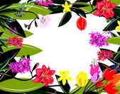 Colorful spring floral frame — Stock Vector
