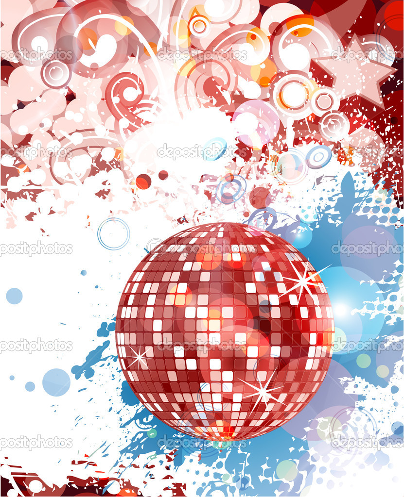 Vector grunge concert poster with discoball — Stock Vector #11425588