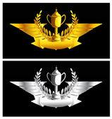 Gold und silber vintage emblem — Stockvektor