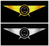 Emblema vintage de oro y plata — Vector de stock