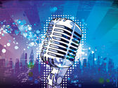 Microphone with urban background — Stock Vector