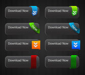 Glossy download buttons set — Vettoriale Stock