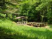 Picnic tables — Foto Stock