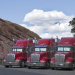 Stock Photo: Semi-Trucks Parked Together