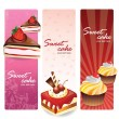Sweet cakes set banners — 图库矢量图片
