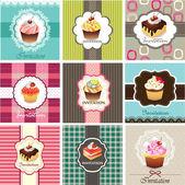 Ensemble de modèle de cartes de cupcake — Vecteur
