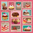 Sweet cakes & desserts postage set — Stock Vector