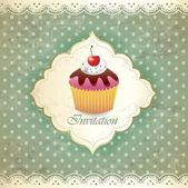 Vintage card with cupcake 017 — Stock Vector
