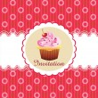 Cute cupcake invitation background — Stock Vector