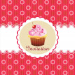 Stock Vector: Cute cupcake invitation background