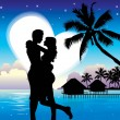 Romantic couple on beach — Vector de stock