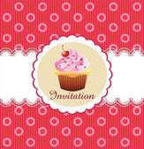 Söta cupcake inbjudan bakgrund — Stockvektor