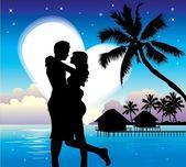 Romantický pár na pláži — Stock vektor