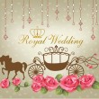 Royal wedding with carriage horse & rose — 图库矢量图片