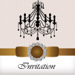 Stock Vector: Invitation card with luxury chandelier