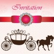 Invitation card with carriage & horse — Stock Vector