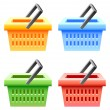 Stock Vector: Shopping basket set