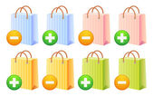 Shopping bags and button — Stock Vector