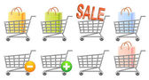 Shoppingcart and button — Vector de stock