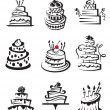 Stock Vector: Set of cakes