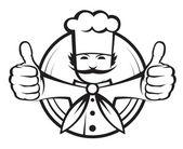 Chef avec une grosse moustache — Vecteur