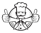Chef con un gran bigote — Vector de stock