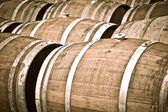 Wine Barrels being stored in a cellar — Stock Photo