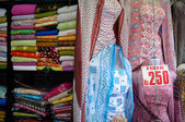 Indian Fabrics and Dresses for Sale — Stock Photo