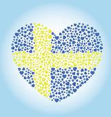 Corazón de bandera sueca — Vector de stock