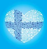 Finlandiya bayrağı kalp — Stok Vektör