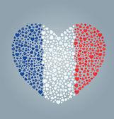 法国国旗的心 — 图库矢量图片